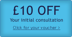 £10 off your initial consultation. Click for further details